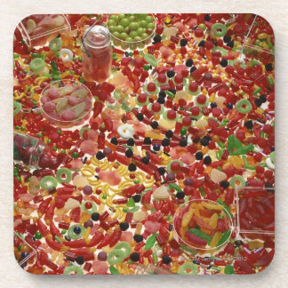 Assortment of candies beverage coaster