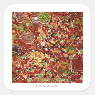 Assortment of candies square sticker