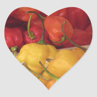 Assortment of colorful chilli peppers heart sticker