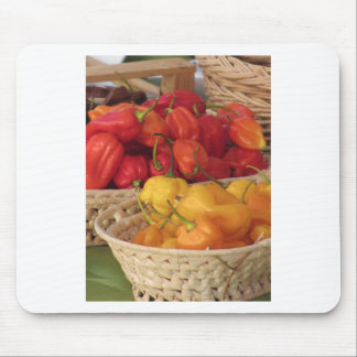 Assortment of colorful chilli peppers mouse pad