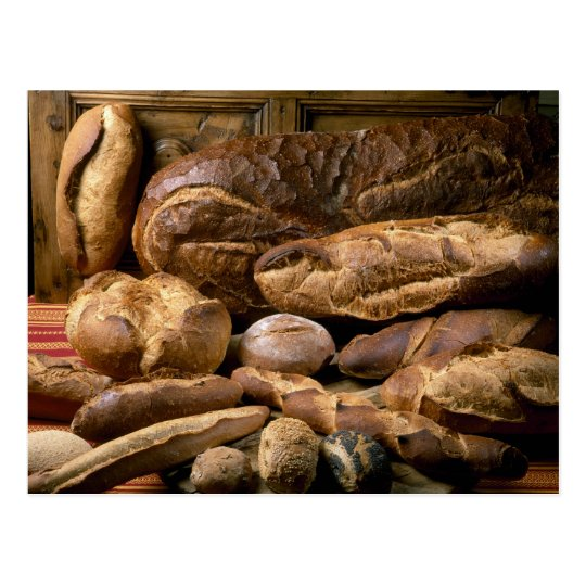 Assortment of country-style breads For use in Postcard