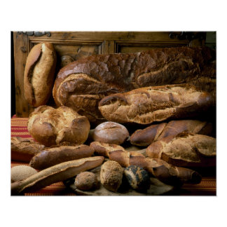 Assortment of country-style breads For use in Poster