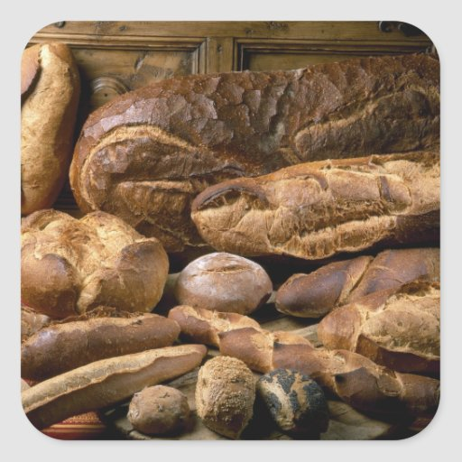 Assortment of country-style breads For use in Square Sticker
