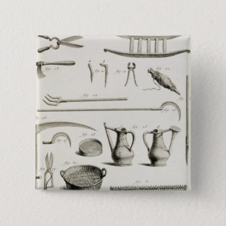 Assortment of gardening tools, from the 'Encyclope 15 Cm Square Badge