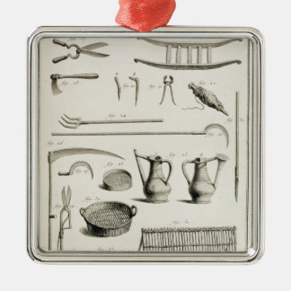 Assortment of gardening tools, from the 'Encyclope Christmas Ornament