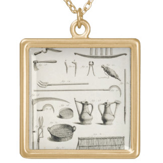 Assortment of gardening tools, from the 'Encyclope Gold Plated Necklace