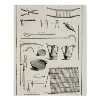 Assortment of gardening tools, from the 'Encyclope Poster