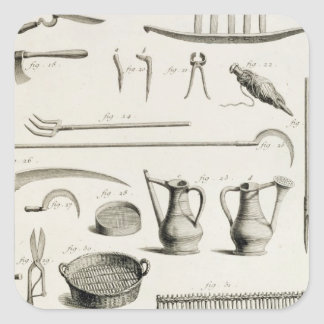 Assortment of gardening tools, from the 'Encyclope Square Sticker