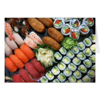 Assortment of Japanese sushi favorites Card