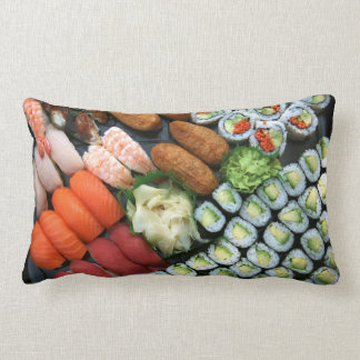 Assortment of Japanese sushi favorites Lumbar Cushion