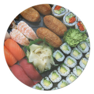Assortment of Japanese sushi favorites Plate