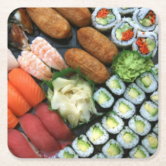 Assortment of Japanese sushi favorites Square Paper Coaster