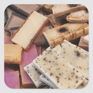 Assortment of organic handmade soaps square sticker