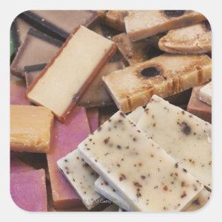 Assortment of organic handmade soaps square sticker