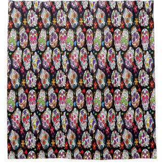 Assortment of rainbow sugar skull shower curtain