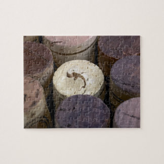 Assortment of used corks, macro. The corks have Jigsaw Puzzle