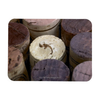 Assortment of used corks, macro. The corks have Magnet