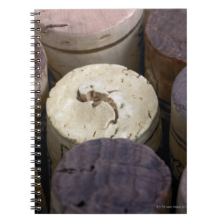 Assortment of used corks, macro. The corks have Spiral Notebook