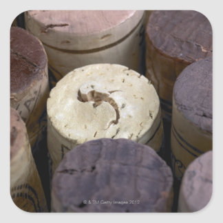 Assortment of used corks, macro. The corks have Square Sticker