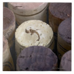 Assortment of used corks, macro. The corks have Large Square Tile