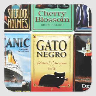 Assortment of vintage signs square sticker