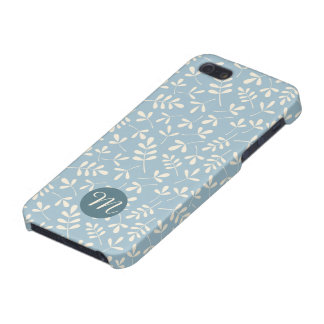Asstd Cream Leaves on Blue Rpt Ptn (Personalized) iPhone 5/5S Cases