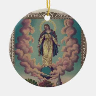 Assumption of the Virgin Mary Round Ceramic Decoration