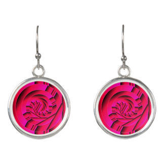 Assymetric Abstract Circle Drop Earrings