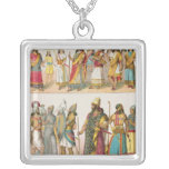 Assyrian Dress, from 'Trachten der Voelker', 1864 Square Pendant Necklace