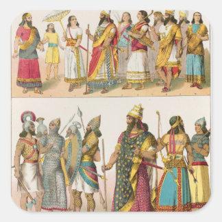 Assyrian Dress, from 'Trachten der Voelker', 1864 Square Sticker