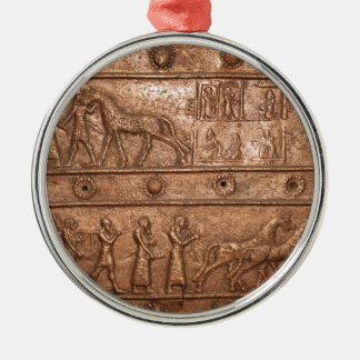Assyrian Gate Silver-Colored Round Decoration