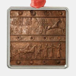 Assyrian Gate Silver-Colored Square Decoration