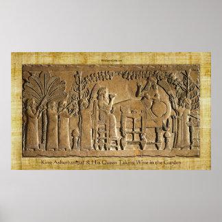 Assyrian King Ashurbanipal Historic Art Poster