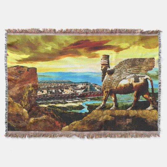 Assyrian lamassu Throw Blanket