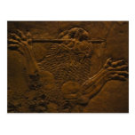 assyrian stone relief in northern mesopotamia postcard