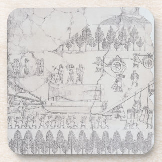 Assyrians moving a Winged Bull on a Sledge, from ' Coaster