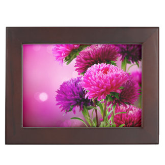 Aster Autumn Flowers Art Design Keepsake Box