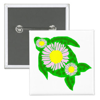 Aster Flowers sea turtle button