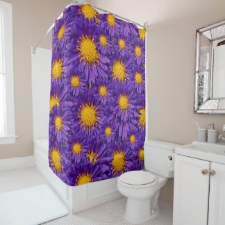 Aster Kickin' Lilac Blue Michaelmas Daisies Shower Curtain