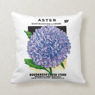 Aster Vintage Seed Packet Cushion