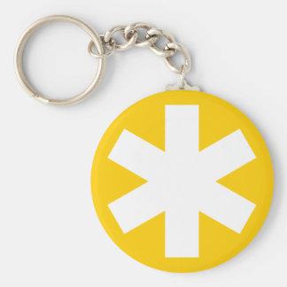 Asterisk - Amber Basic Round Button Key Ring