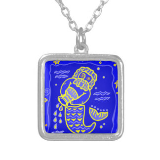 Asterisk Aquarius as supporters Silver Plated Necklace