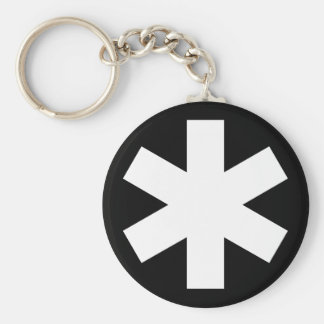 Asterisk - Black Basic Round Button Key Ring