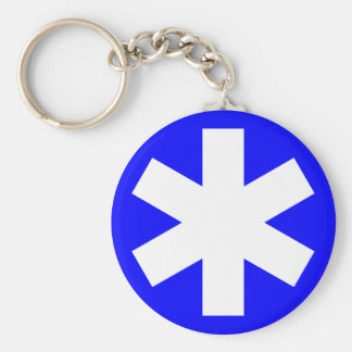 Asterisk - Blue Basic Round Button Key Ring