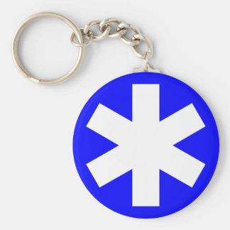 Asterisk - Blue Basic Round Button Key Ring