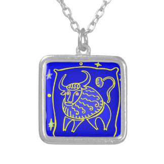 Asterisk bull as supporters silver plated necklace