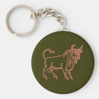 Asterisk bull zodiac sign Taurus Basic Round Button Key Ring