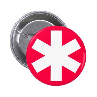 Asterisk - Crimson Red 6 Cm Round Badge