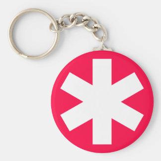 Asterisk - Crimson Red Basic Round Button Key Ring