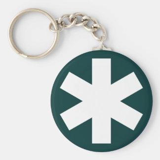 Asterisk - Dark Green Basic Round Button Key Ring